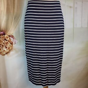 Max Studio Navy Blue Striped Midi Skirt